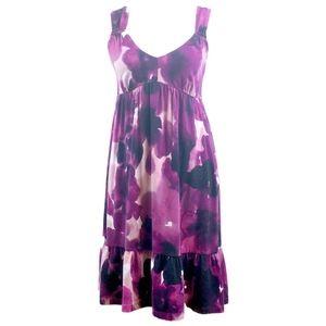 Ann Taylor LOFT Ruffle Sleeveless Dress Purple Med